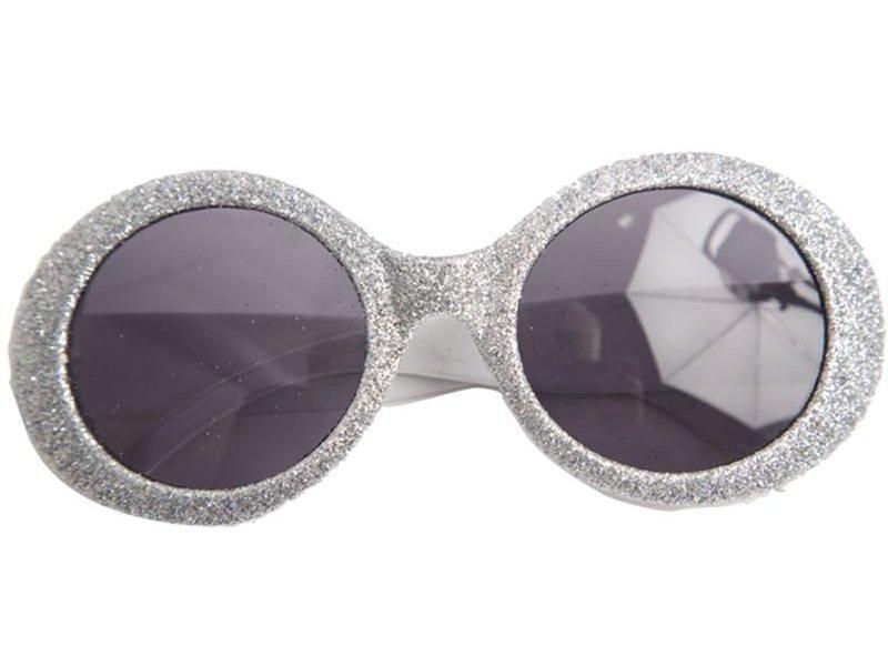Bril Disco Glitter Neon Zilver