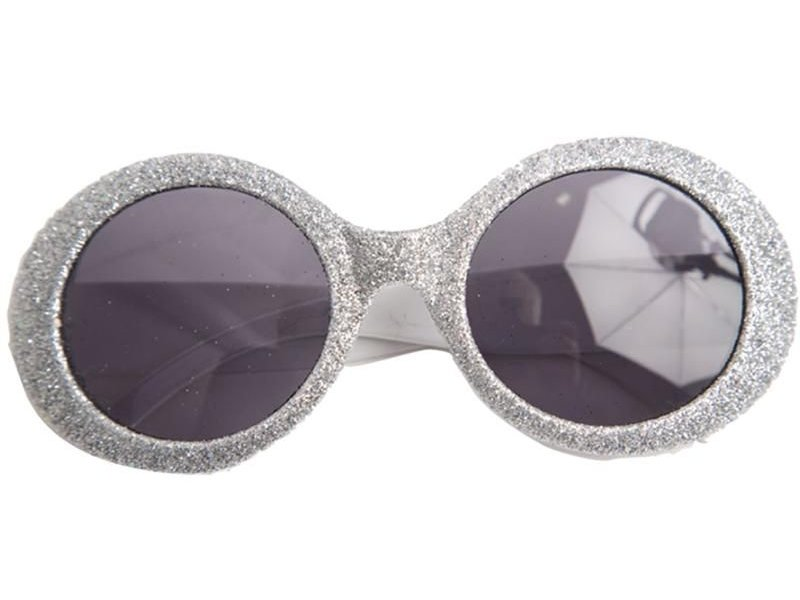 Glasses Disco Glitter Neon Silver