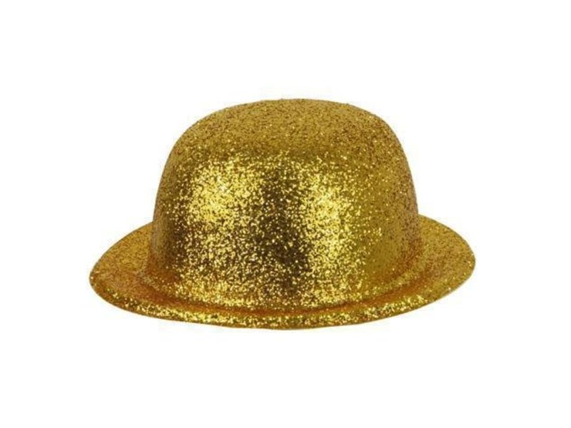 Chapeau Melon Plastique Brillant Or
