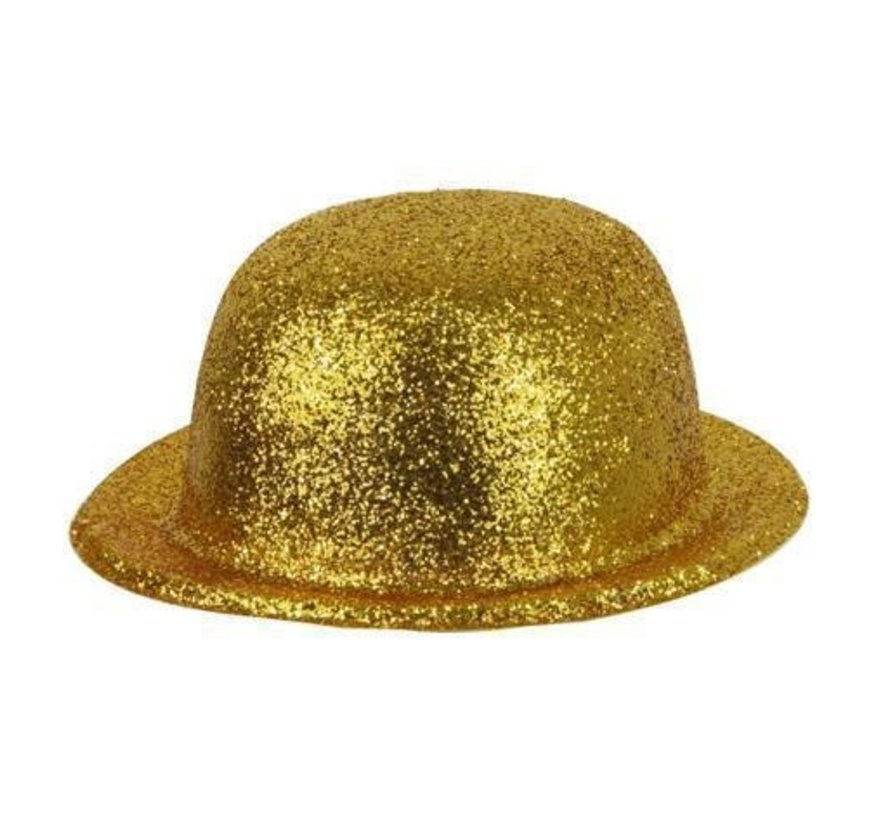 Bowler Hat Plastic Glitter Gold