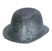 Bowler Hat Plastic Glitter Silver