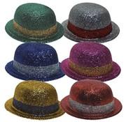 Bowler Hat Plastic Glitter (6 ass)