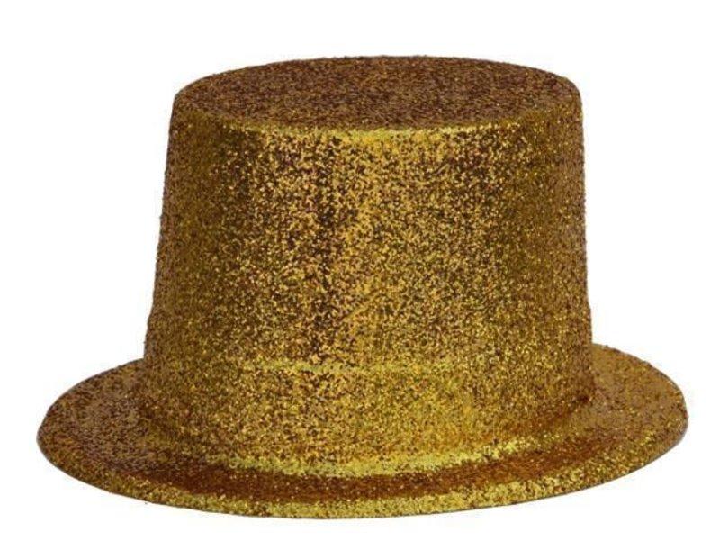 Chapeau Haut Plastique Brillant Or