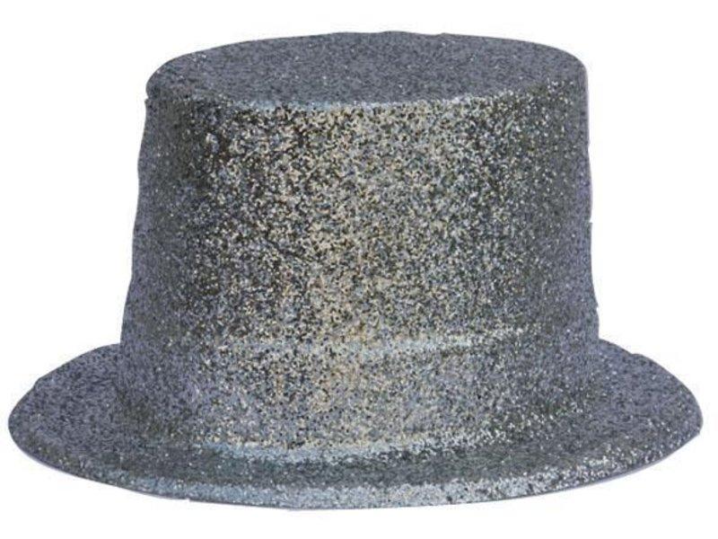 Chapeau Haut Plastique Brillant Argent