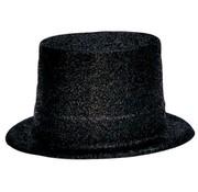 Topper Hat Plastic Glitter Black