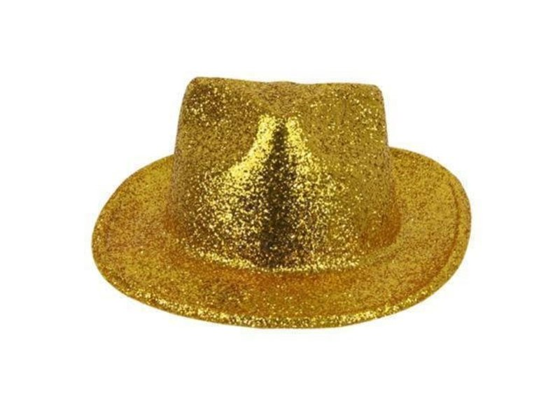 Borsalinohoed Plastic Glitter Goud
