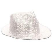 Borsalino Hat Plastic Glitter White