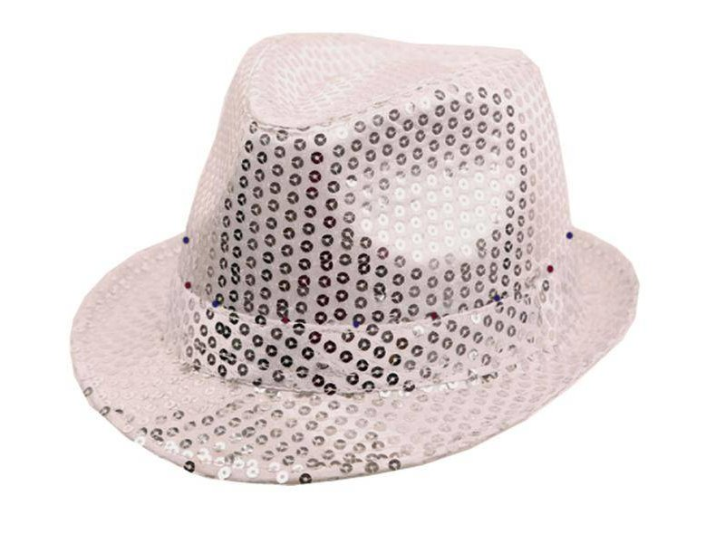 Hat Funk Sequin Silver + LED
