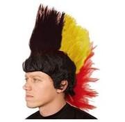 Pruik Mohawk Zwart/Geel/Rood