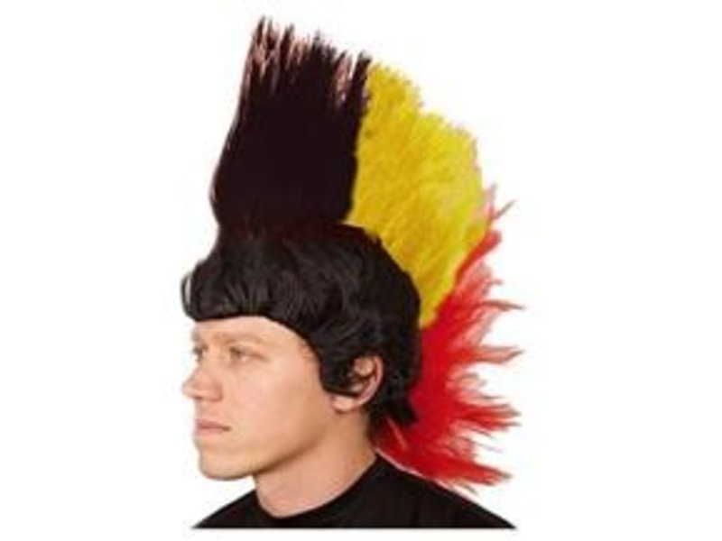 Wig Mohawk Black/Yellow/Red