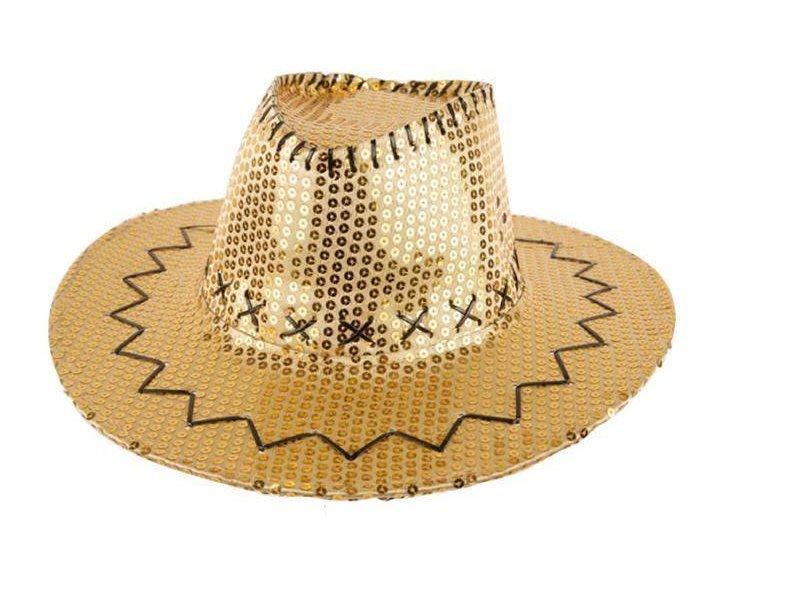 Cowboyhoed met pailletten goud