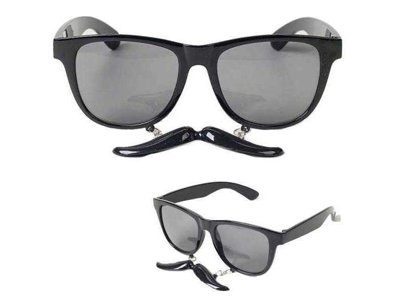 Glasses with Mustache Black
