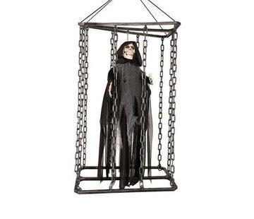Deco Skull in cage 50cm shaking