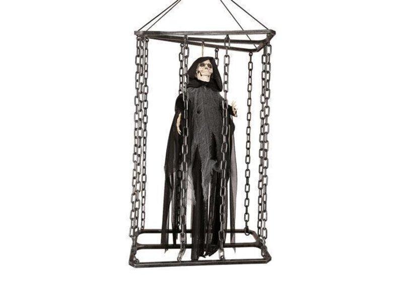 Deco Skull en cage 50cm shaking