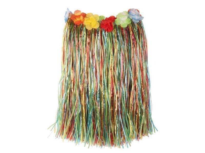 Raffia Skirt Multi + flowers 50cm