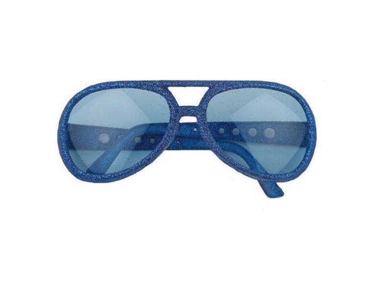 Glasses Disco Glitter Bleu