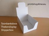 A5 Toonbank display - doos. Wit, zonder bedrukking (blanco).
