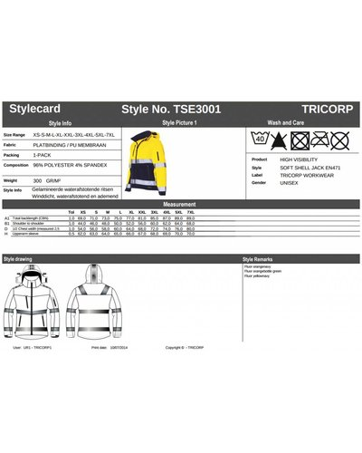 Tricorp TSE3001 Tricorp Softshell Jas