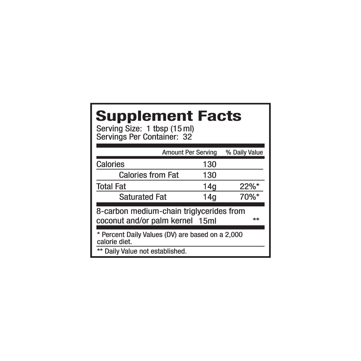 NUTRITION FACTS - SERVING SIZE: 1 TBSP, (15 ml) SERVINGS PER CONTAINER: 64, Amount Per Serving % DV*, CALORIES 129, CALORIES FROM FAT 129, TOTAL FAT 14.3g - 22%, SATURATED FAT 14.3g - 71%, *Percentage Daily Values are based on a 2,000 calorie diet. Your daily values may be higher or lower depending on your calorie needs: Total Fat, w/ Daily Calories: 2,000 = 65g, w/ Daily Calories: 2,500 = 80g. Sat Fat, w/ Daily Calories: 2,000 = 20g, w/ Daily Calories: 2,500 = 25g