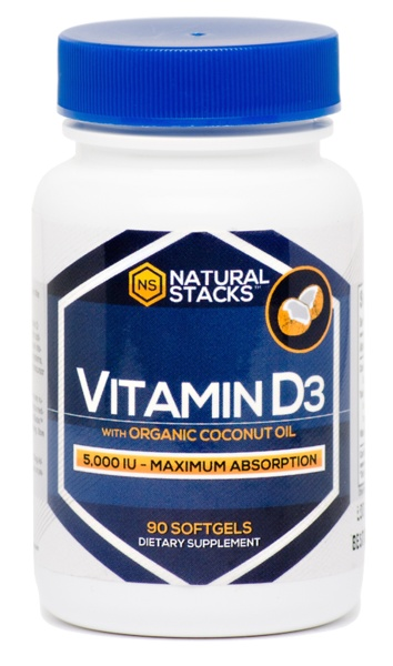 Natural Stacks Vitamine D3 5,000 IU avec de l'Huile Organique de Noix de Coco - 90 capsules