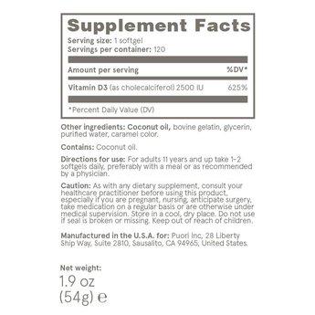 Puori D3: COCONUT FORMULA - 120 capsules