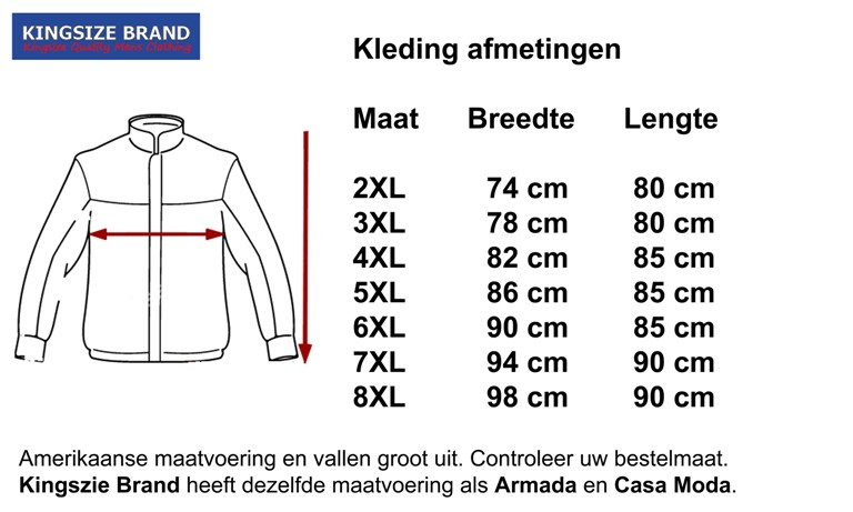 Kingsize Brand JT085 Veste d'hiver de grandes tailles Noir