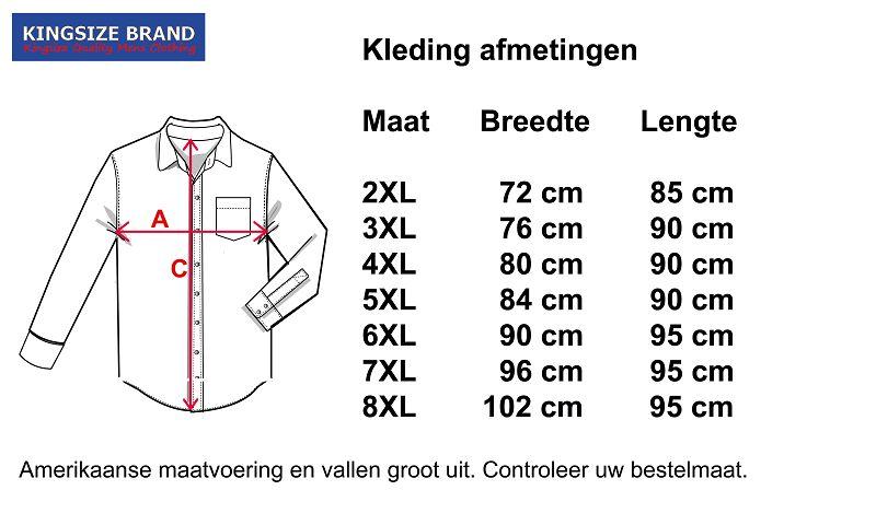 Kingsize Brand 15657 grote maten zwarte overhemd