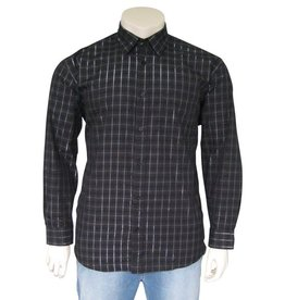 Kingsize Brand 15657 Grote maten Zwart Overhemd (lange mouw)