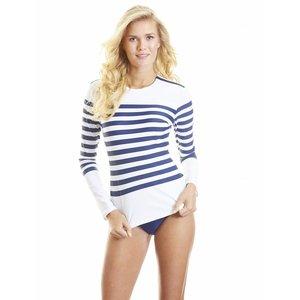 UV-shirt Navy Stripe met schouder rits - Cabana Life