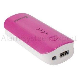 König Portable Power Bank 4400 mAh USB Roze