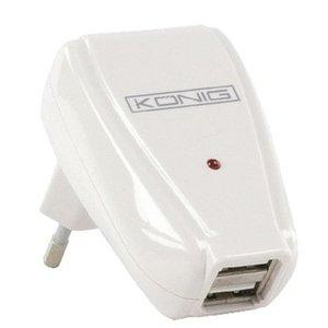 König Lader 2 - Uitgangen 1.0 A USB Wit