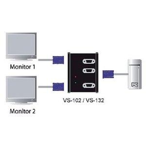 Aten VGA Splitter VGA Male - 2x VGA Female Zwart