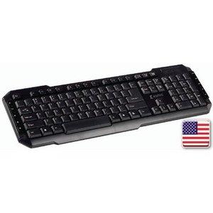 König Bedraad Keyboard Multimedia USB US International Zwart