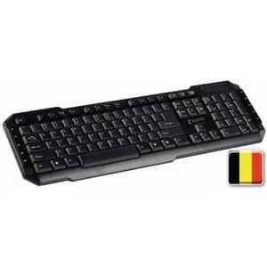 König Bedraad Keyboard Multimedia USB Belgian Zwart