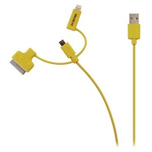 Valueline 3-in-1 Data en Oplaadkabel USB Micro-B Male + Dockadapter + Lightningadapter - A Male 1.00 m Geel
