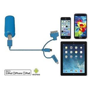 Valueline 3-in-1 Data en Oplaadkabel USB Micro-B Male + Dockadapter + Lightningadapter - A Male 1.00 m Blauw