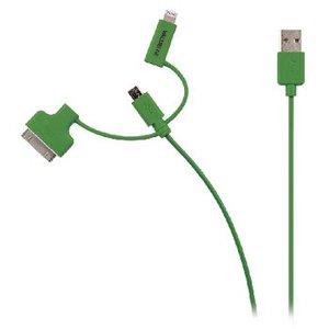 Valueline 3-in-1 Data en Oplaadkabel USB Micro-B Male + Dockadapter + Lightningadapter - A Male 1.00 m Groen