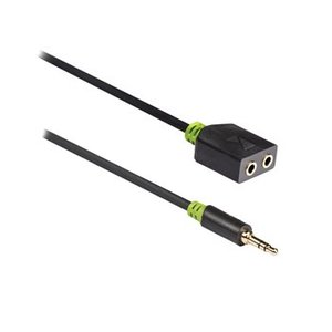 König Stereo Audiokabel 3.5 mm Male - 2x 3.5 mm Female 0.20 m Antraciet