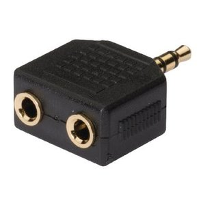 König Stereo Audio Adapter 3.5 mm Male - 2x 3.5 mm Female Antraciet