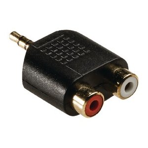 König Stereo Audio Adapter 3.5 mm Male - 2x RCA Female Antraciet
