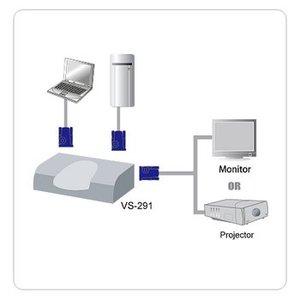 Aten VGA Schakelaar 2x VGA Female - VGA Female 15-Pins Zilver