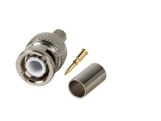 BNC krimp connector RG59, BNC-krimpconnector voor coaxkabel RG59 en URM70, per stuk <br /> Hoogwaardige BNC-krimpconnector toe te passen met RG59 coax kabel. Voor krimptool zie krimptang tbv RG59 en RG11