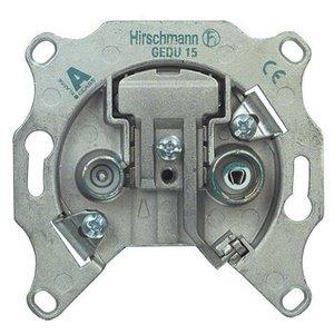 Hirschmann Antenne Wandcontactdoos (Doorvoer) - Zilver 1.0 dB