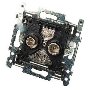 Hirschmann Antenne Wandcontactdoos (Doorvoer) - Zwart / Zilver 1.5 dB
