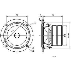 """Visaton Titanium luidspreker 10 cm (4"""") 8 Ohm"""