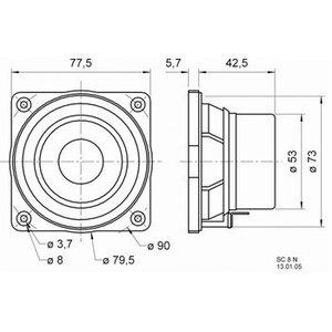 "Visaton Full-range luidspreker 8 cm (3.3"") 8 Ohm"