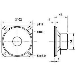 """Visaton Magnetisch afgeschermde 10 cm (4"""") breedband luidspreker 4 Ohm"""