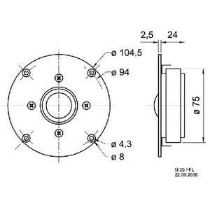 "Visaton High-End dome tweeter 25 mm (1"") 8 Ohm"