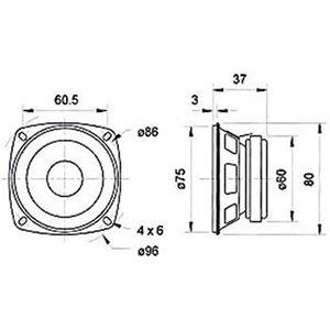 "Visaton Full-range luidspreker 8 cm (3.3"") 4 Ohm"