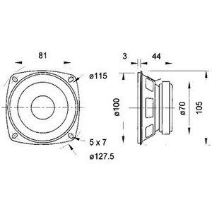"Visaton Full-range luidspreker 10cm (4"") 8 Ohm"